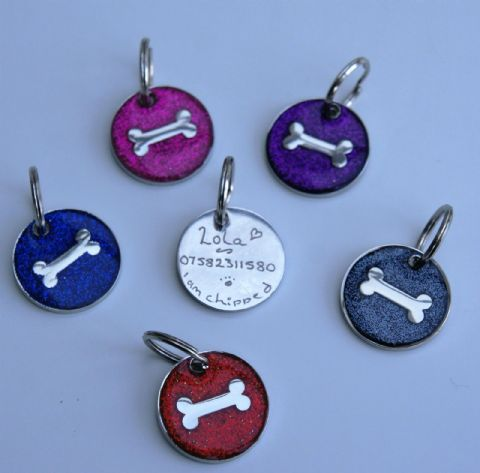 DOG TAG ENGRAVED FREE  GLITTER & BONE,  CHOICE OF COLOUR